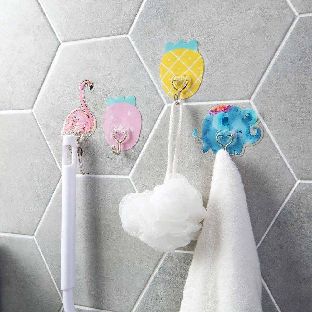 Carton Wandmontage Sleutelhouder Olifant Flamingo Aardbei Ananas Adhesive Haken Voor Deur Handdoek Huishoudelijke Artikelen Hanger