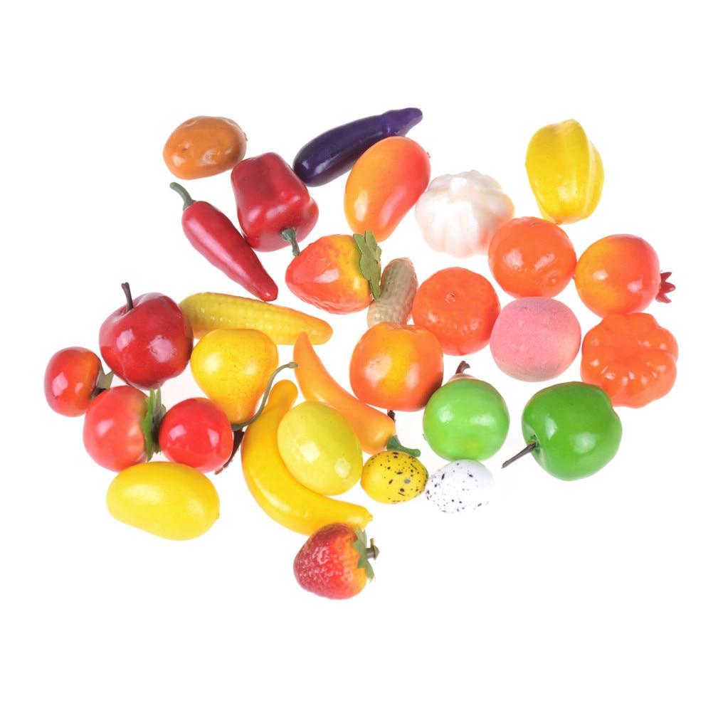Mini frutas legumes alimentos 3-4cm, balança de casa de bonecas, acessórios de miniaturas, boneca, quarto, kits de decoração por atacado com 10 peças