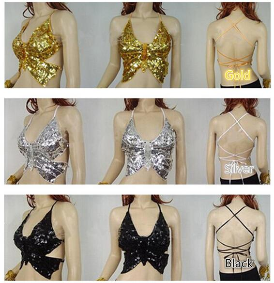 2018 High Quality Brand New Women Cheap Sequin Belly Dance Sexy Butterfly Top Straps Belly Dancing Costume Tops On Sale