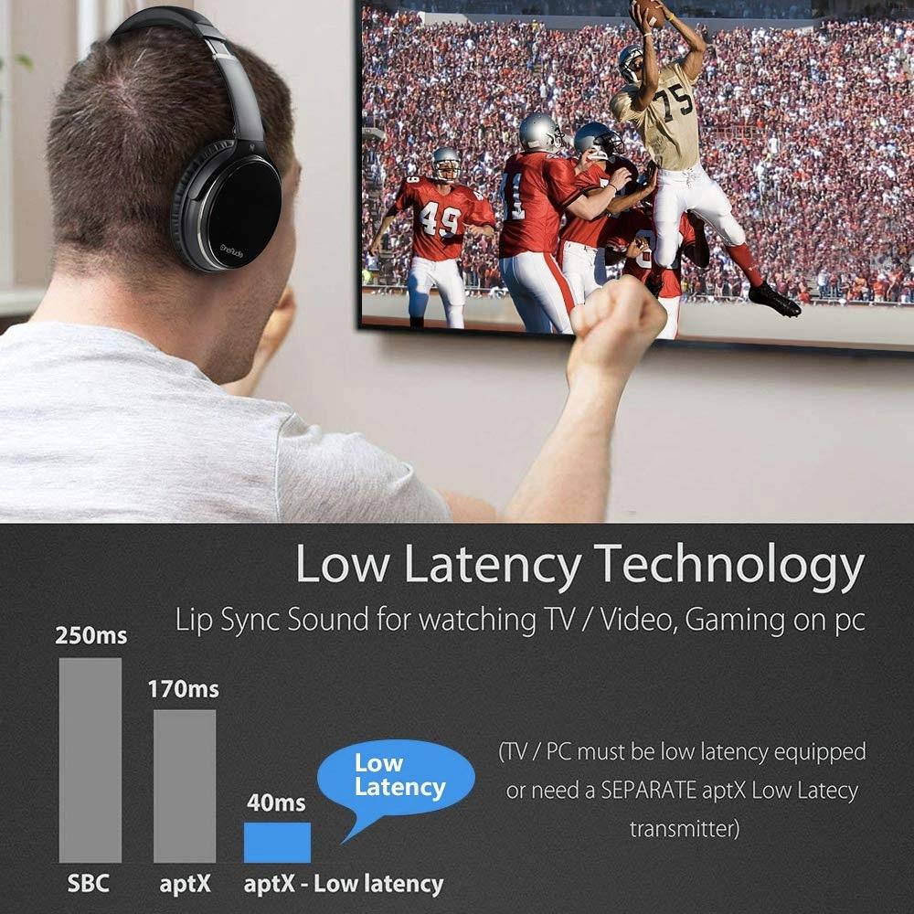 Casque Bluetooth sans fil avec suppression de bruit Active Oneodio avec Microphone apt-x casque ANC à faible latence pour le voyage du téléphone - 5