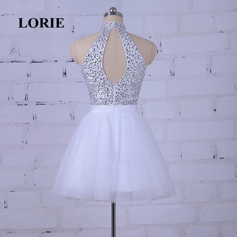 LORIE Hvit Prom Dress For Graduation Halter A-Line Beaded Krystaller - Spesielle anledninger kjoler - Bilde 5