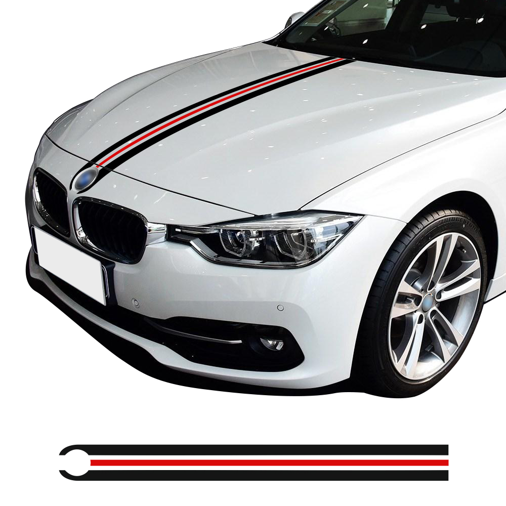 Car Hood Engine Cover Bonnet Racing Stripes Line Decal