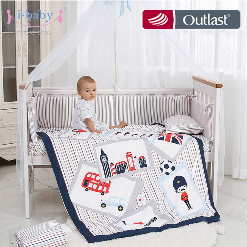 i-baby Baby Bedding Set 9pcs Crib Sets England Time Cotton Printed Cot Sheet Duvet Pillow Quilt Set in Crib for Newborn Boy Girli-baby Baby Bedding Set 9pcs Crib Sets England Time Cotton Printed Cot Sheet Duvet Pillow Quilt Set in Crib for Newborn Boy Girl