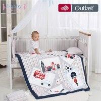 i baby Baby Bedding Set 9pcs Crib Sets England Time Cotton Printed Cot Sheet Duvet Pillow Quilt Set in Crib for Newborn Boy Girl
