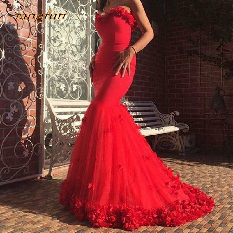 Long Mermaid Red   Evening     Dresses   2019 with Flowers Formal   Dress   Prom Gown Formal   Evening   Women Party On Sale abendkleider