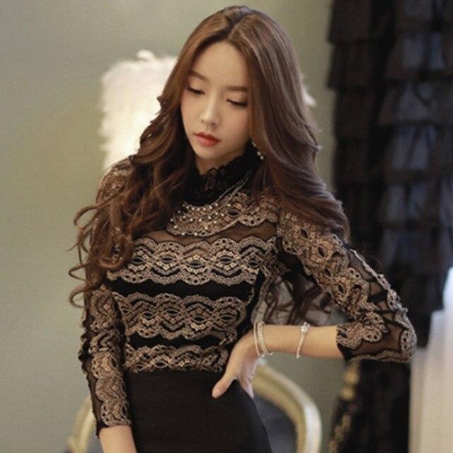 2aa49543a3 Elegante Blusa de Renda das Mulheres   s Manga Longa Camisas Básicas  Camisas Princesa Oco