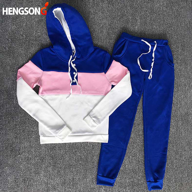 Autumn Women Hoodies+Long Pants Sets Suits Women casual Patchwork Hooded Sweatshirts 2 Piece Set wear Tracksuit AQ814463