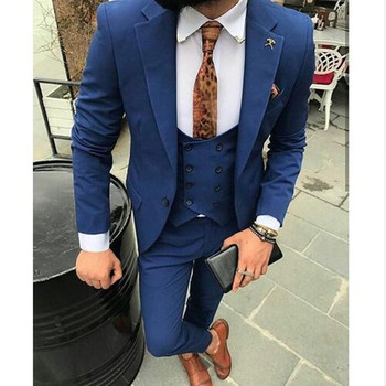 Navy Blue Men Suits Slim Fit Groom Tuxedos Wedding Suit Custom Made High Quality Man Formal Business Suit (jacket+pant+vest)