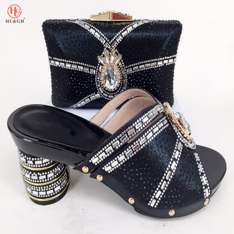 Black Color Pumps 2018 African Women Shoes And Bag Set With Rhinestones Pumps Italian Shoes With Matching Bag For Evening Party