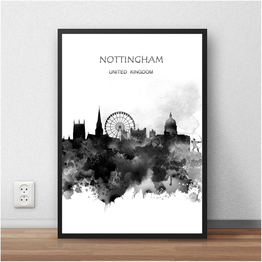 Online Shop NOTTINGHAM UK The Global City Watercolor Painting Abstract Print Poster Living Room House Decor Cafe Bar 42x30cm Wall Sticker
