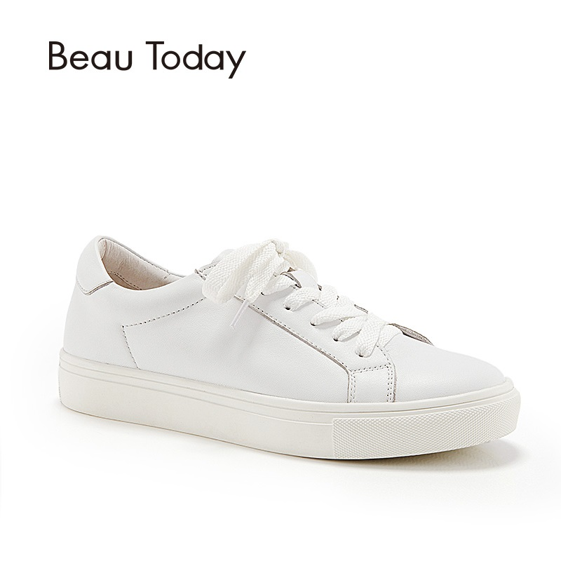 BeauToday Casual Flats Genuine Cow Leather White Color Lace-up Shoes Women Spring Autumn Shoes with Round Toe 29008 tfsland men women genuine leather loafers students white shoes unisex spring round toe lace up breathable walking shoes sneakers