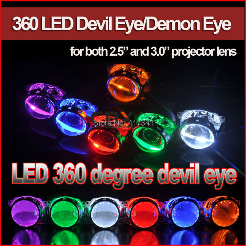 Free Shipping Circular Projector Led Devil Eye Demon Eye for HID Projector Lens 2.5 WST Koito Q5 HL Red Blue White Yellow Green видеорегистратор supra scr 930g 640x480 120° g сенсор gps без экрана sd sdhc