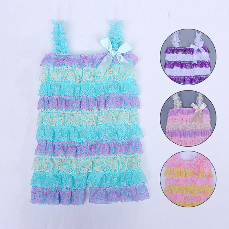 Baby Girls   Rompers   Lace Patchwork Ruffle Baby 1st Birthday Party Outfit Toddler Infant Jumpsuit