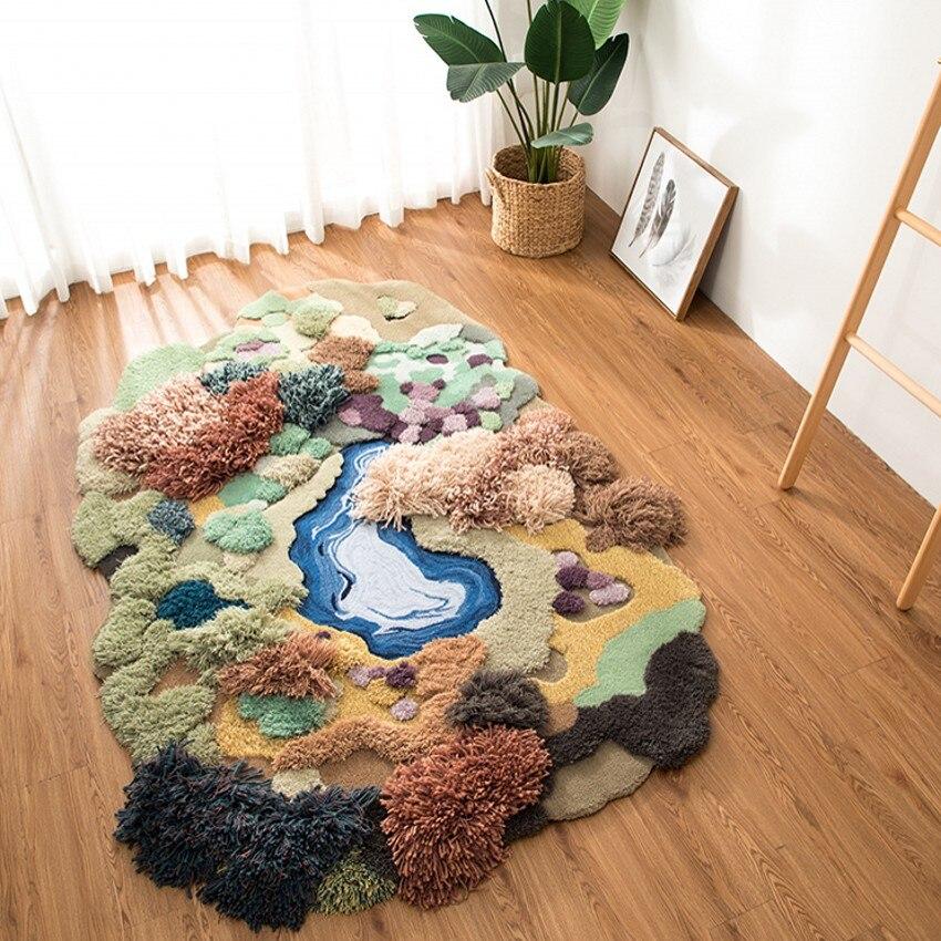 Маленький лес ручной работы 3D гостиная ковры, Nordic большой размеры прикроватные ковры, зеленый украшения детская комната пол коврики
