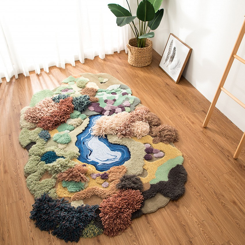 petit tapis de salon 3d fait main de foret tapis de chevet de grande taille nordique tapis de sol de chambre d enfants de decoration verte