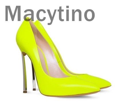 Macytino Elegant Yellow Women Pumps High Heels Patent Leather Wedding Pumps Brand Design Pointed Toe High Heels Shoes sweet women s pumps with two piece and patent leather design