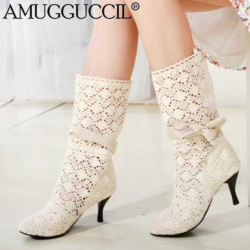 Wholesale!Plus Big Size 34-43 Black Beige Brown Cut Out Bowtie Fashion High Heel Girl Female Lady Women Summer Boots X527