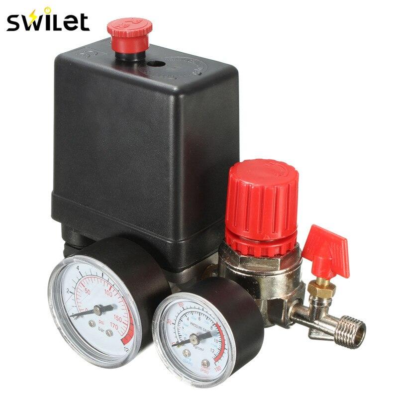 7,25-125 PSI Luft Kompressor Druck Switch Control AC 15A 240 v Vier Löcher Einstellbare Luft Regler