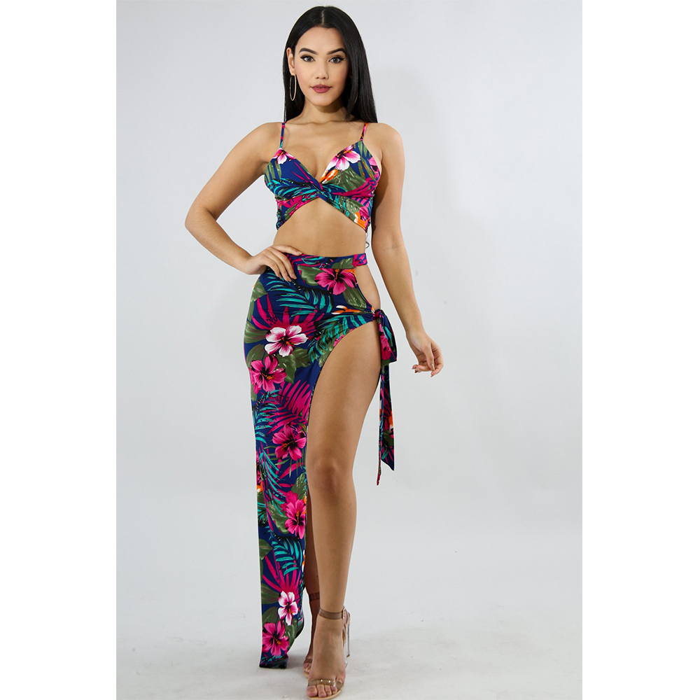 Bohemian Floral Print Women Sets Sexy Spaghetti Strap V Neck Crop Top With Skirt Two Piece Set Elegant Summer Beach Women Outfit