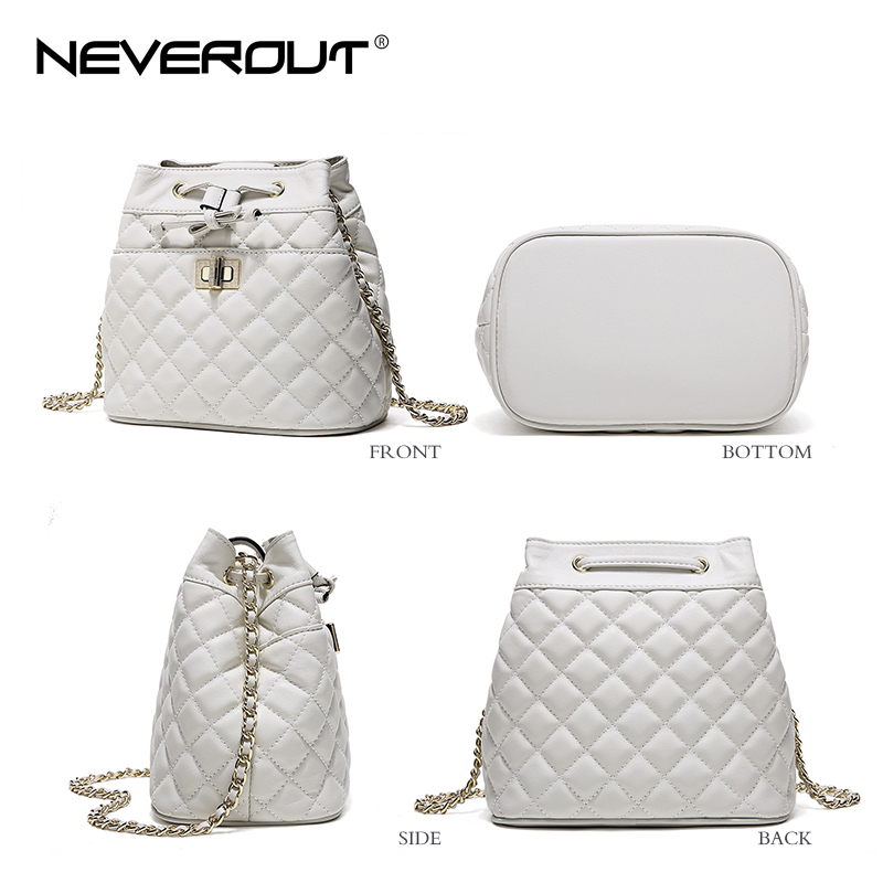 NeverOut Genuine Leather Bucket Bag Brand Name Women Shoulder Sac ... f547a79a09