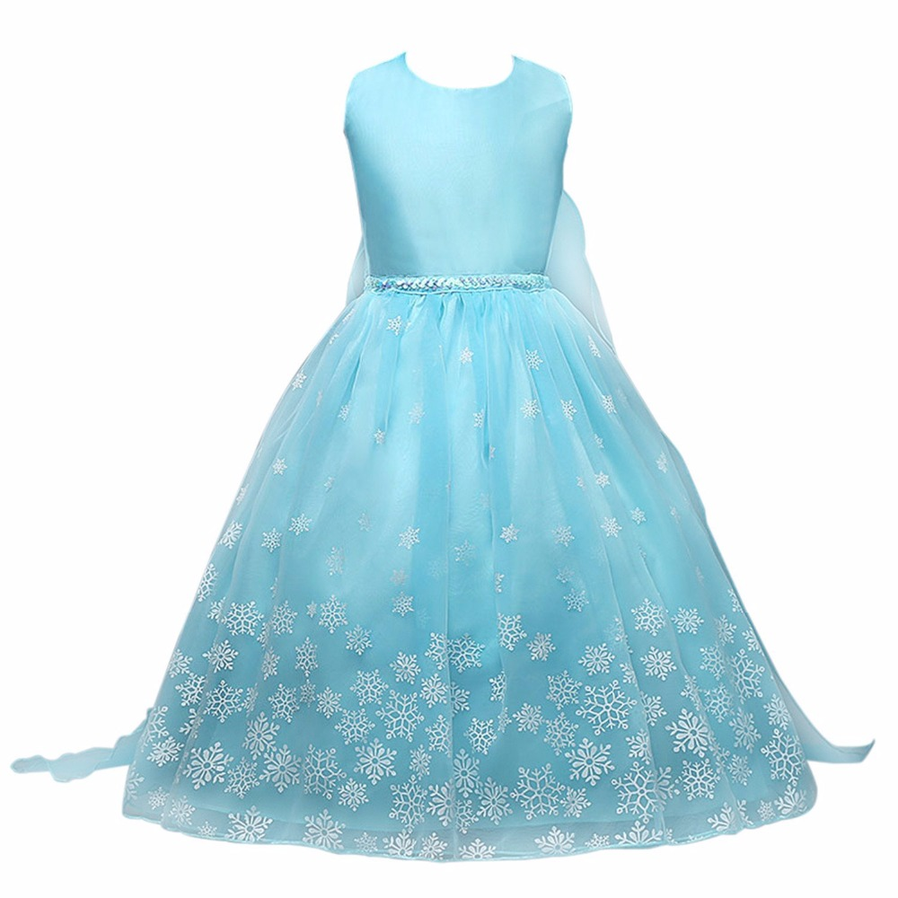 Chiffon Dress Girls Sleeveless Snowflakes Pattern Princess Style Snow Flakes Fancy Party Elsa In Costumes From Novelty Special Use On