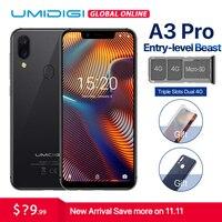 UMIDIGI A3 Pro Глобальный Band 5,7 19:9 полноэкранные 3 ГБ + 32 ГБ Quad core Android 8,1 12MP + 5MP 3300 мАч Face Unlock двойной мобильный телефон 4G