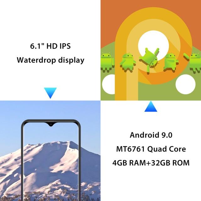 LEAGOO M13 Android 9.0 Smartphone 6.1 ''wyświetlacz HD IPS Waterdrop 4GB RAM 32GB ROM MT6761 3000mAh podwójne aparaty 4G telefon komórkowy