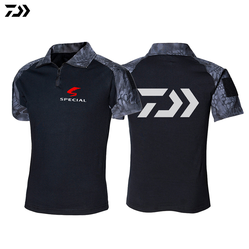 2019 Summer  Dawa Fishing Polo Shirt Men Outdoor Sports Breathable Camouflage Fishing Shirt Hiking Camping Fishing Clothing