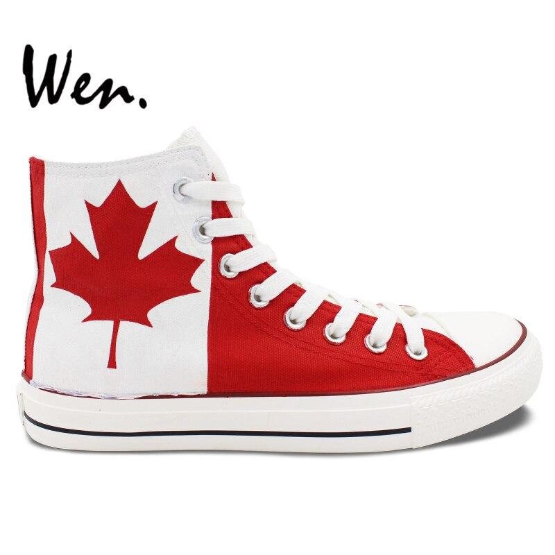 Prix pour Wen Custom Design Peint À La Main Chaussures de Drapeau Du Canada Feuille D'érable Hommes Femmes High Top Toile Sneakers pour Noël D'anniversaire cadeaux