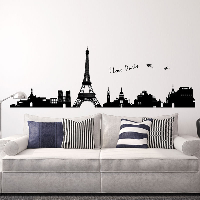200 80 cm j 39 aime paris ville silhouette stickers muraux for Stickers tour eiffel chambre