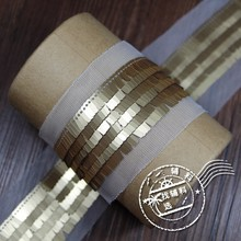 gold sequins Beaded lace trim Diy craft clothing decorative accessories sew on lace trimming motif patches for clothing