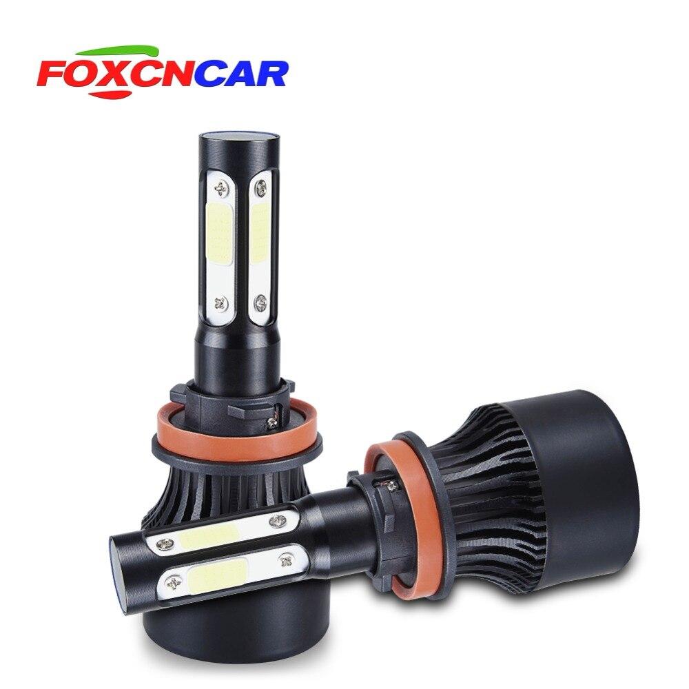 Foxcncar 4 ampullen de voiture de phare LED COB 100 W 100 00lm H4 Salut lo H7 H8 H9 H11 9005 9006 HB4 faisceau de Auto 12 v 24 v