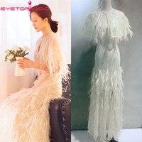 Пикантные ремень блестками праздничное платье белое перо кисточкой bodycon Длинные вечерние платья работа с Плащ шаль женская летняя обувь
