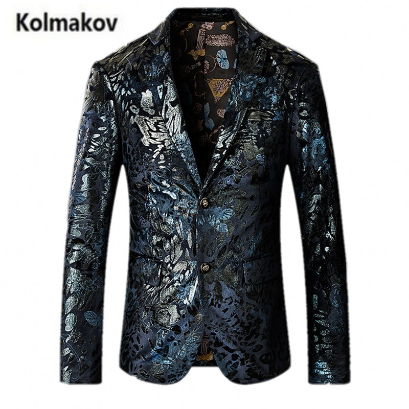 KOLMAKOV 2017 autumn new men's suit Classic velveteen printed blazers,business jacket men,Wedding dress embroidered blazers men