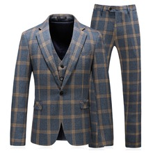 Korean Style Men Suits For Wedding 3 Piece Suit Men Slim Fit Blazer Jacket Casual Plaid Tuxedos Waistcoat Pants Business Suits casual slim fit zip fly long plaid pants for men