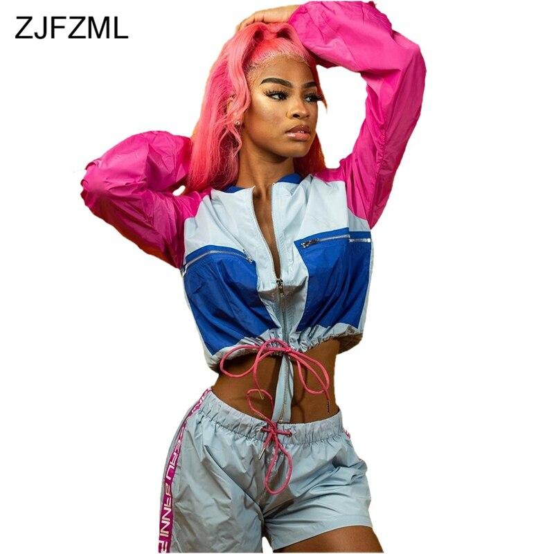 ZJFZML Color Block Casual Two Piece Suit Women Front Zipper Long Sleeve Crop Jackets+Drawstring Short Autumn Outfit 2 Piece Set