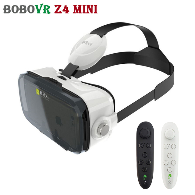 2017 BOBOVR Z4 Mini VR Cardboard Headset 3D Glasses Virtual Reality Smartphone Head Mount Helmet For 4-6' + Remote control
