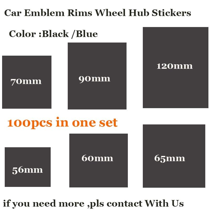 100PCS For VW Passat B6 B7 CC Golf Jetta MK5 MK6 Decals Car Badge Emblem Rims Wheel Stickers For 120mm 90mm 70mm 65mm 60mm 56mm