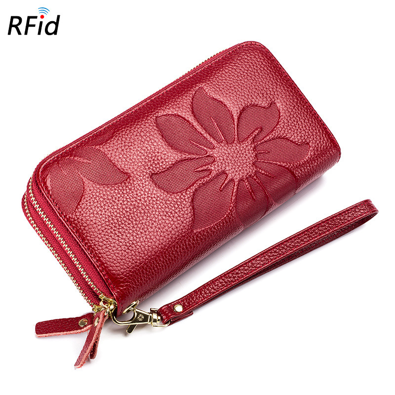 Double Zipper Women's Wallet Genuine Leather Clutch Bags Large Capacity RFID Card Holder Passport Wallet Lady Cell Phone Purse