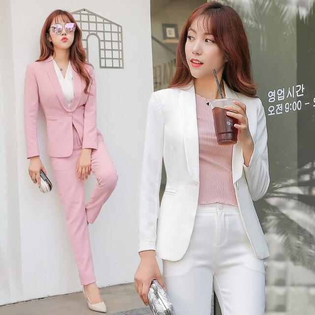 Women 2 Piece set Business Blazer Suit Set Slim Fit Professional Female  Long Sleeve Pant b16b0927c9