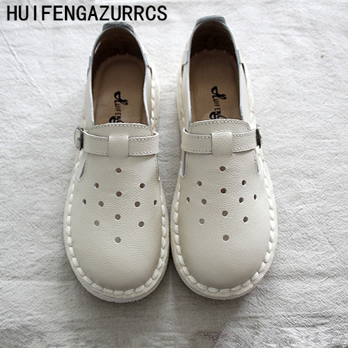 HUIFENGAZURRCS-Genuine leather Pure handmade flats shoes,the retro art mori girl shoe,Restoration Literature Art soft sole shoes