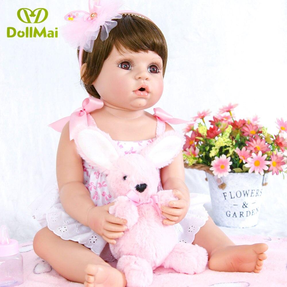 55cm Reborn Baby Puppe Volle Silikon Vinyl Bebe Reborn Realista kurze haare Mädchen Spielzeug Für Prinzessin Geschenk großen augen boneca de pano-in Puppen aus Spielzeug und Hobbys bei  Gruppe 2