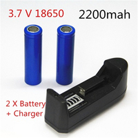 2pcs/set 18650 battery 3.7V 2200mAh rechargeable li ion battery with 1pcs charger for Led flashlight Torch Clock batery litio