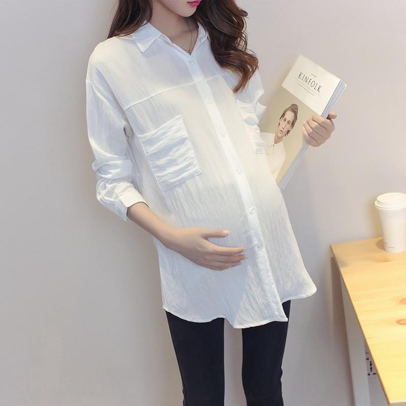 Maternity Shirt Koreanska Blus Kläder för Gravida Kvinnor Långärmad Maternity Blusar Graviditet Kläder Y752