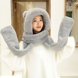 Image 3 - ZDFURS*Autumn and winter hat female plush thick double layer northeast hat warm cycling neck scarf scarf gloves one gift