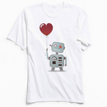 Fashionable T Shirt Man Tshirt Funny Crewneck Couple T-shirt Robot In Love 100% Cotton Men Tops Tees Punk Camisa Free Shipping