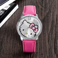 2018 оптовая продажа Новые кожаные Наручные часы для женщин детская одежда для девочек мультфильм моды hello kitty кварцевые часы Relojes 8A06