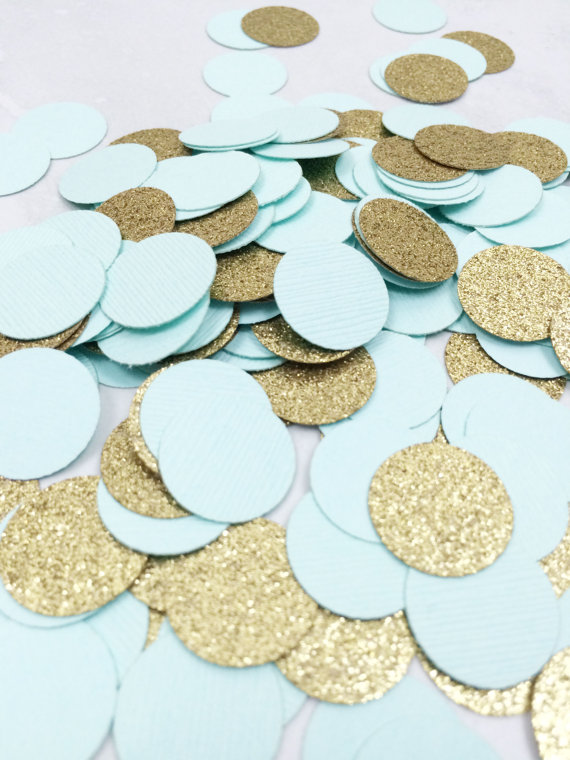 Robin Egg Blue Gold Glitter Confetti Circle Bridal Shower Table Decor Sbook Confettis In Banners Streamers From Home Garden