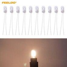FEELDO 10Pcs Car T5 12V 1.2W Halogen Bulb External Halogen Lamp Replacement Dashboard Bulb Light#AM2698