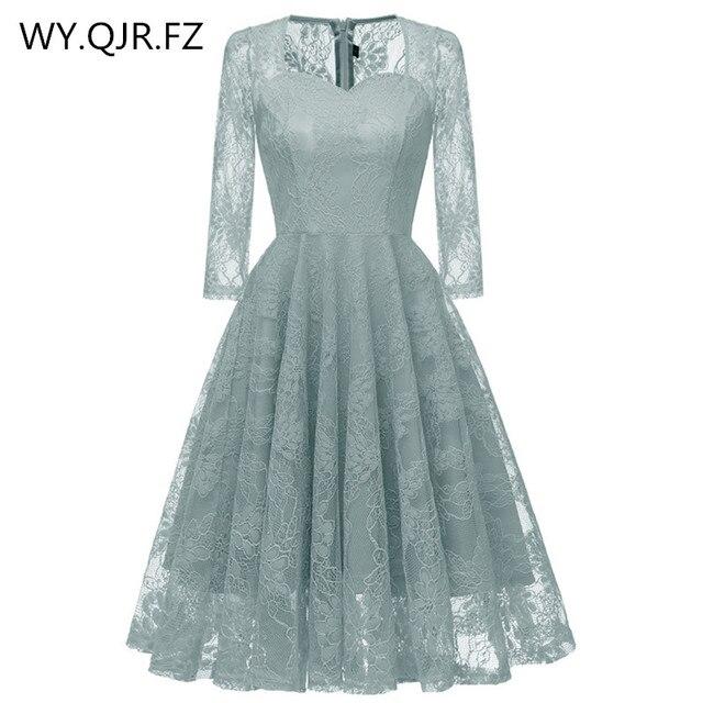 CD1659 # кружевные короткие три четверти голубовато-серые вечерние платья невесты тост одноклассное платье вечернее платье выпускного вечера оптовая продажа одежды